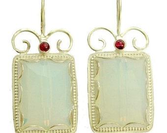 Opalite garnet earrings, bohemian jewelry, effervescent color silver earrings, gemstone earrings, bridal earrings - Once upon a time - E7755