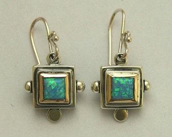 Two tone earrings, silver gold earrings, blue opal earrings, gemstone earrings, opal earrings, sterling silver earrings - Blue Echoes E0265