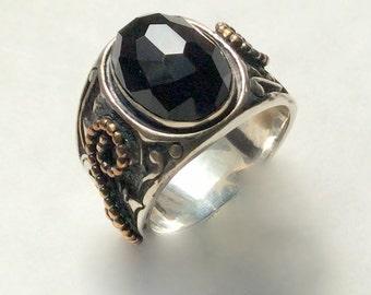 Black onyx ring, Silver gold ring, Filigree ring, boho ring, statement ring, gypsy ring, cocktail ring, Tibetan ring - Paint It Black R2238