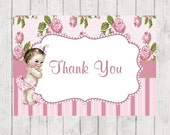 Baby Shower Thank You Card-PINK- Shabby Chic Vintage- Set of 10