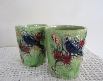 Vintage Majolica Juice or Tea Cups Bird Pattern Set of 2 Made in Japan