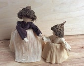 Mother and Daughter Handmade Corn Husk Doll - New