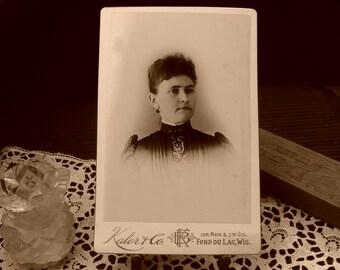 Vintage Cabinet Card, Victorian Woman, Early 1900's, Edwardian, Antique Photograph, Ephemera