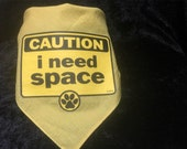 "Large ""i need space"" dog bandana in yellow"