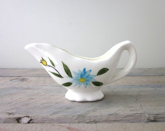 Hand Painted China Creamer Server with Blue Flowers