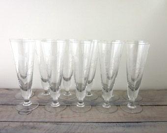 Vintage Etched Crystal Pilsner Glasses Set of Eleven Floral Design Barware Champagne Glasses