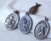 Vintage Saints Medallions Charms. St. Anthony. St. Francis. St. Christopher. Italy Fish pendant Lot D32
