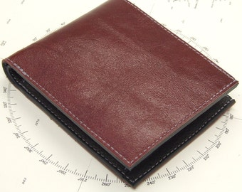Red and black leather wallet with pop coin pocket