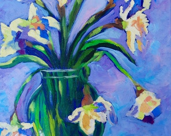 Daffodils Modern Impressionist Original Oil Daffodil Still Life Painting by Rebecca Croft
