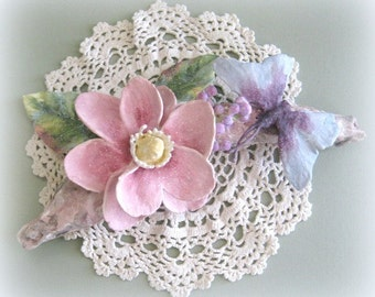 Shabby Chic Pink Flower Wall Hanging Magnolia Wall Flower Sculpture Floral Wall Hanging Clay Flower Wall Sculpture Flower Centerpiece
