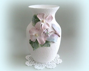 Shabby Chic Flower Vase Cottage Chic Vase Pink Flower Vase Art Vase Decor White Vase Pink Floral Vase Hand Painted Clay Dogwood Wedding Gift