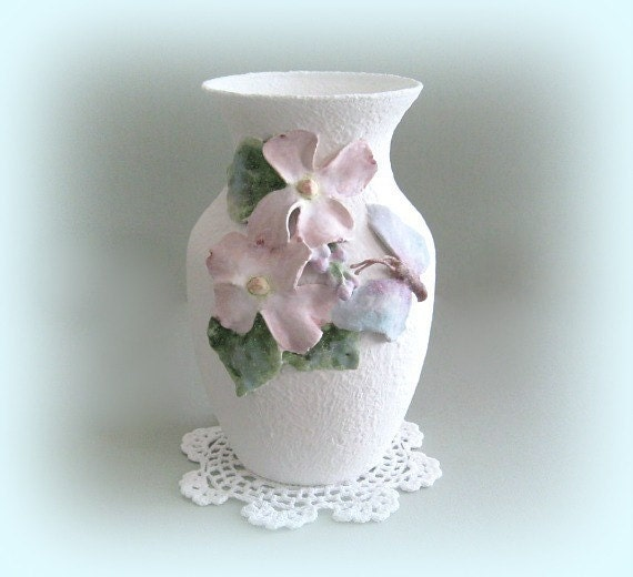 shabby chic flower vase cottage chic vase pink flower vase art. Black Bedroom Furniture Sets. Home Design Ideas