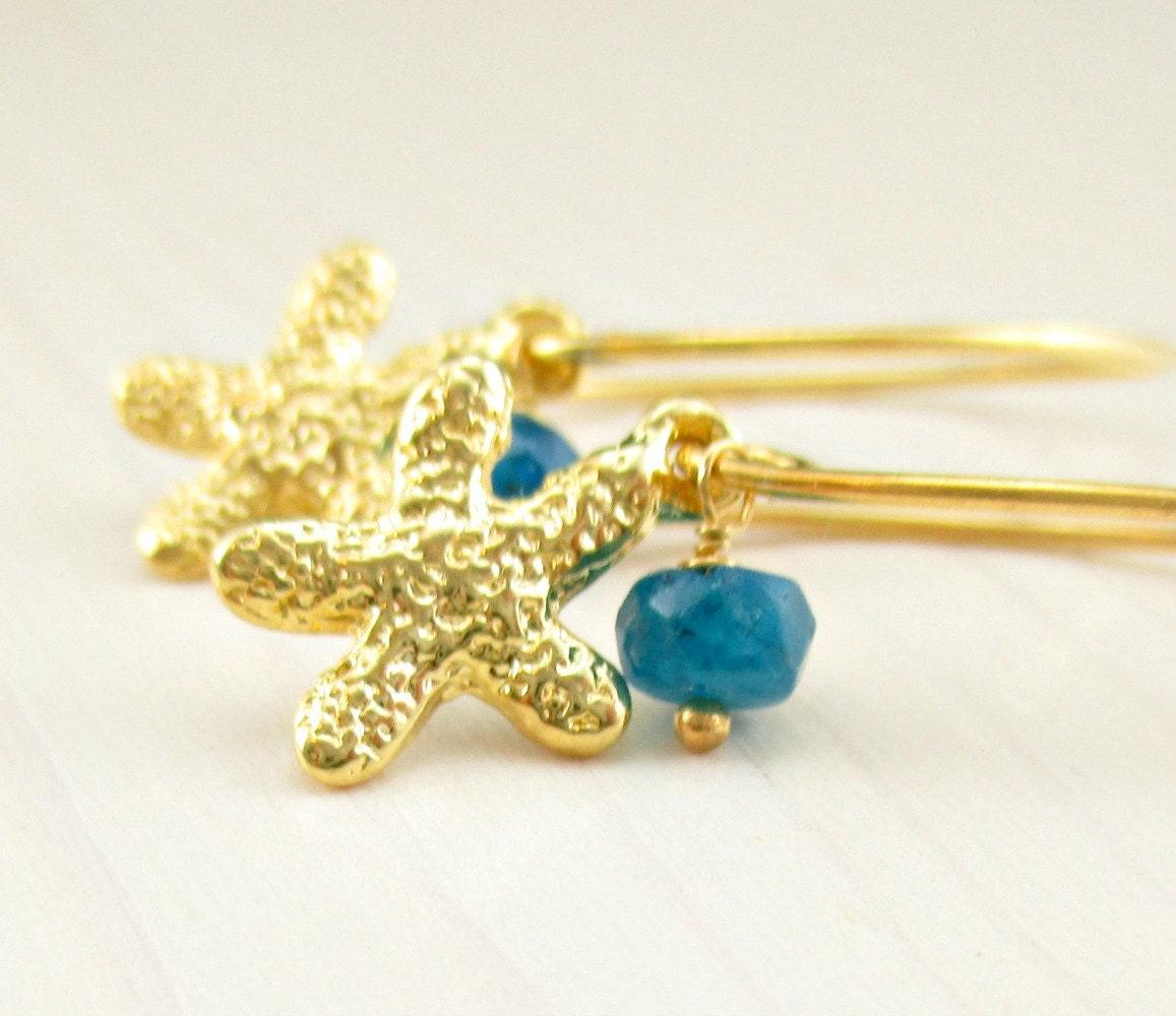 gold starfish earrings vermeil starfish earrings starfish