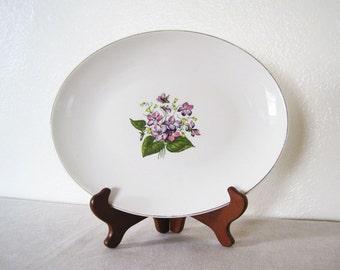 "Edwin Knowles Wood Violets Oval Serving Platter 13"" Gold Rim Floral Purple Flowers"
