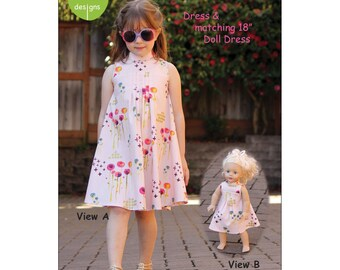 "ROSE  DRESS Sewing Pattern and Matching 18"" Doll Dress ~ Multi-sized Sewing Pattern for Girls ~  Sizes 2-10 ~ olive ann designs OAD97"