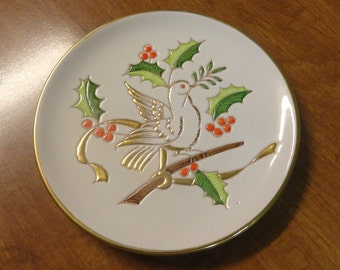 Vintage PEACE Dove Italy Christmas Plate Numbered