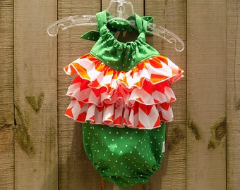 FAMU or Miami Very Ruffled Sunsuit  size 12-18 months
