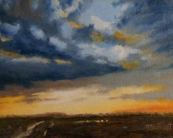 Cloud Appreciation, Landscape_Pochade Box Painting_Alla Prima Study_En Plein Air_Gold Leaf Wood Frame_Original Oil Painting