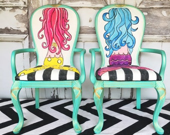 SOLD Mermaid Chair|Hand Painted|French Provinvial