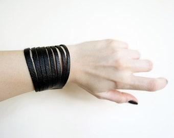 Black Leather Cuff Bracelet, Wide Cuff, Mens Leather Bracelet, Womens Bracelet