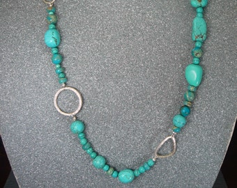 Turquoise and sterling nugget necklace - handmade - Chinese turquoise