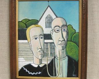 Female Portrait , Male , Couple Portrait , Painting , Wil Shepherd Studio , Grant Wood , Husband and Wife , Art , Fine Art , Wil Shepherd