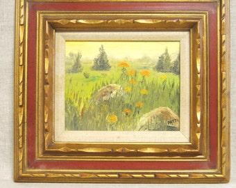 Vintage Landscape, Painting, Landscape Painting, Vintage Painting, Fine Art, Art, Original Art, Oil Painting, Small Painting, Nature,Flowers
