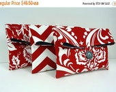 ON SALE Set of 3 Bridesmaid Gift Clutches in Red and Gray Bridal Party Gift