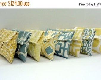 ON SALE READY To Ship // 8 Clutches Gold Yellow and Blue Gray Bridesmaid Gifts Cosmetic Bags