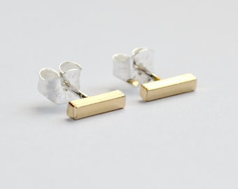 SECONDS SALE - Small Bar Stud Earrings - Simple Rose Gold, Gold or Sterling Silver Square Bar Studs
