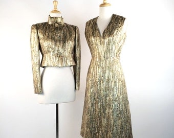 Vintage 1960's Dress & Jacket, Pauline Trigere Cocktail Dress, Gold Brocade, V Neck, Sleeveless, High Collar Jacket, Oval Rhinestone Buttons
