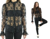 Vintage 70s Lace Victorian Blouse Black Button Up Top Long Sleeve Shirt Puff Sleeves Sheer 1970s Medium M Steampunk Goth