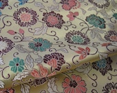 Vintage Chinese Floral  Brocade Fabric, Light Gold metallic with Pink, Teal, Green, Yellow & Brown, By the Yard