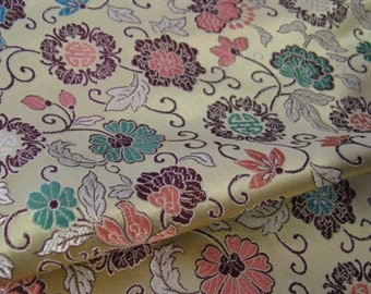 Vintage Chinese Floral  Brocade Fabric, Light Gold metallic with Pink, Teal, Green, Yellow & Brown, By the YD