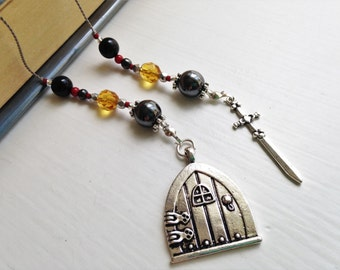 Hobbit Door Bookmark gift - Lord of the Rings Beaded Book Thong in Ruby Red, Black, and Gold with Silver Sword Charm and Hobbit Door Charms