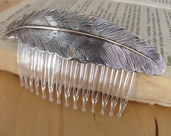 Silver Bird Feather on Hair Comb (Nature, Bridal, Wing, Boho, Hippie)