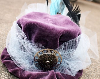 Steampunk Mii Hat Fascinator- Purple and Blue