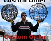 Custom Order 2  Barbed Wire Spirals Trellis  1 Spider Web Wall Haning Made to Order