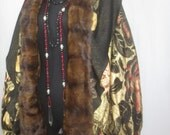 RESERVED for Connie Vintage 1920's Gold Lame & Mink Fur Cape-Authentic Silk, Satin Flapper Cloak