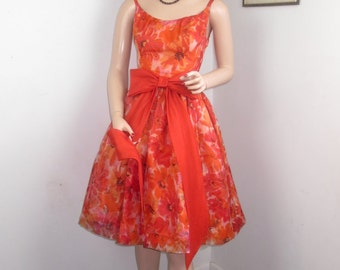 Vintage 1960's JR THEME New York Chiffon Party Dress w/BIG Bow in Front-Orange Floral Prom-sm