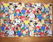 Childs Placemat - Sports - Teddy Bears -  Reversible - Alphabet - 12 x 18