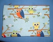 """Owls on a Branch - 7"""" Zippered Pouch - Lined - Yellow - Orange"""