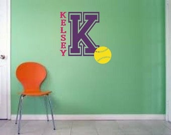 Varsity Letter Custom Personalized Name Vinyl Wall Decal with Softball