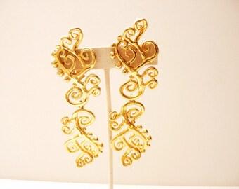 Vintage French Designer Scrolling Dangling Gold Tone Earrings 4 Inches by  Herve Van der Straeten