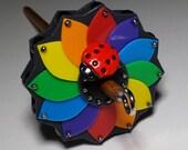 Top Whorl Drop Spindle -- Rainbow Bug