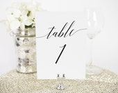 """Wedding Table Numbers - 5x7"""", Any Color - Daring Romance Design - Decorative, Party Decoration, Script"""