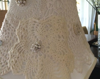 White Cottage Chic Victorian LAMP SHADE One Of A Kind *exquisite