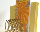 Vintage Brass Letter Holder  Mid Century Spring Letter Holder  Organizer  Desk Organizer Retro Desk 60s