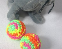 Cat Jingle Bell Balls, Bright Colorful Neon Kitty Cat Toys, Stocking Stuffer pr Easter Basket Gift for Your Cat by Crocheted by Charlene