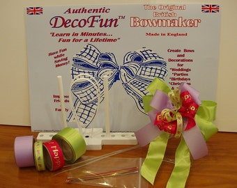 DecoFun Bow Maker BIRTHDAY RIBBON Starter Kit- DIY easy Party Favors, Decorations, Crafts, Cards, Scrapbooking, Gifts with beautiful bows